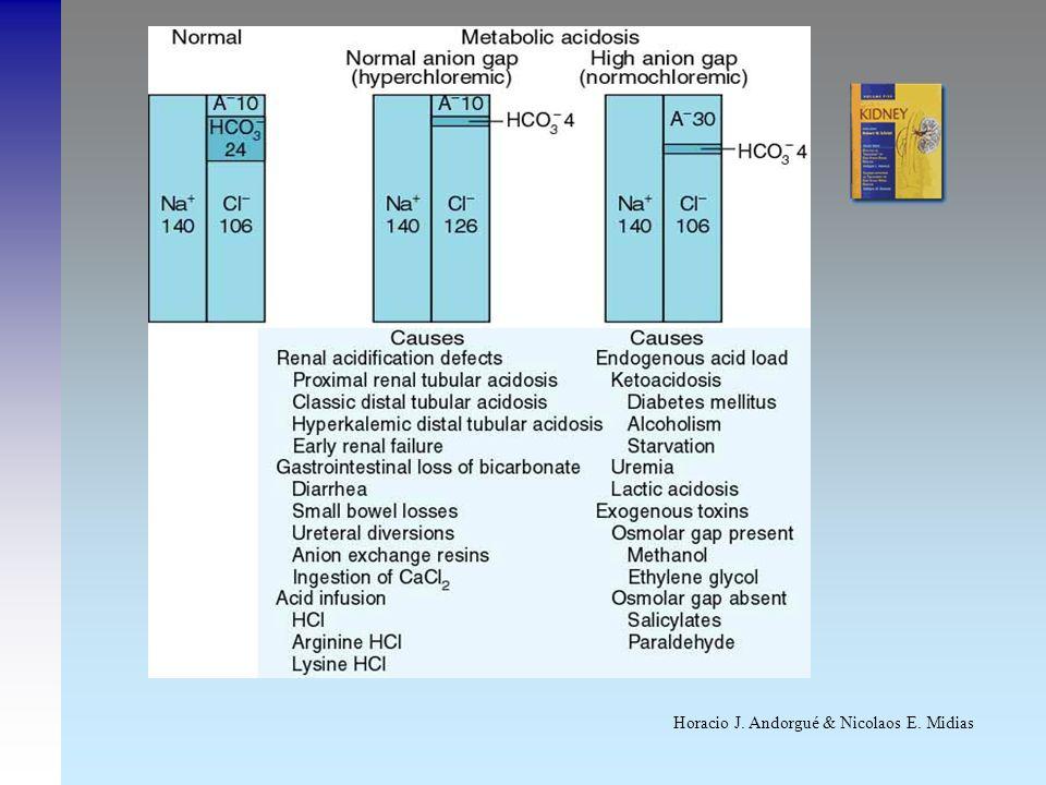 AcidosisMetabólicaHiperclorémica(cont)AcidosisMetabólicaHiperclorémica(cont) pH > 6 - Disminución de secreción distal de H+ - Excesiva llegada distal de HCO 3 - Disminución de secreción distal de H+ - Excesiva llegada distal de HCO 3 FEHCO 3 .