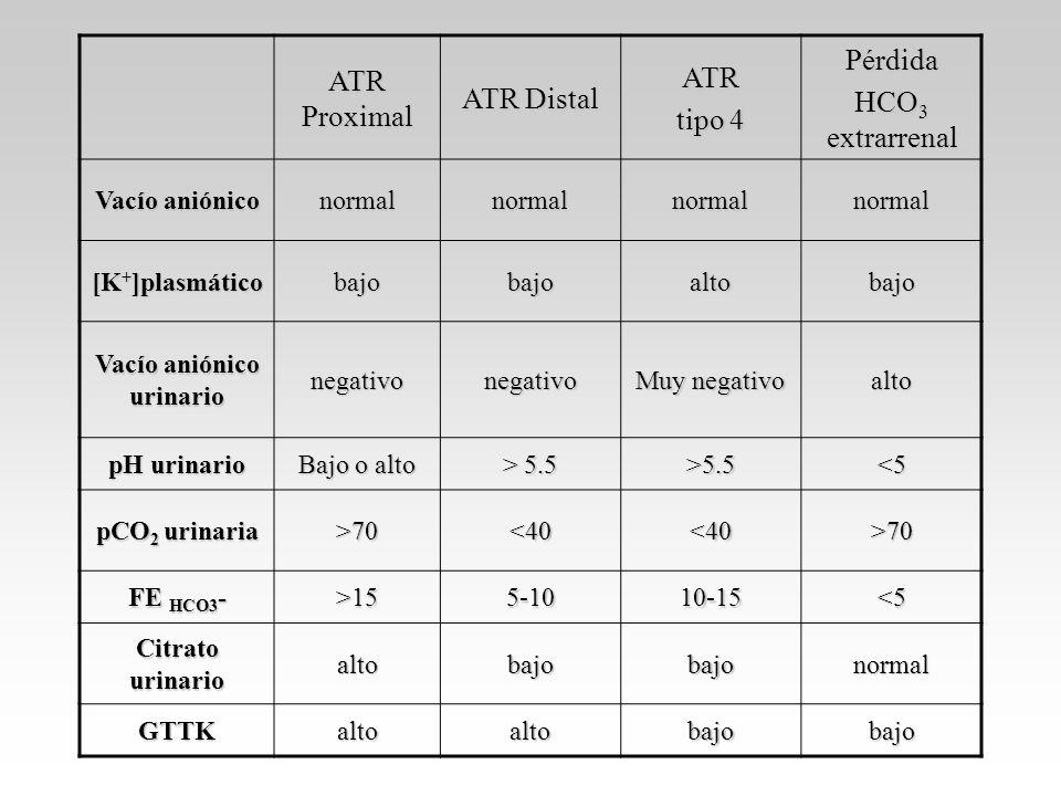 ATR Proximal ATR Distal ATR tipo 4 Pérdida HCO 3 extrarrenal Vacío aniónico normalnormalnormalnormal [K + ]plasmático bajobajoaltobajo Vacío aniónico