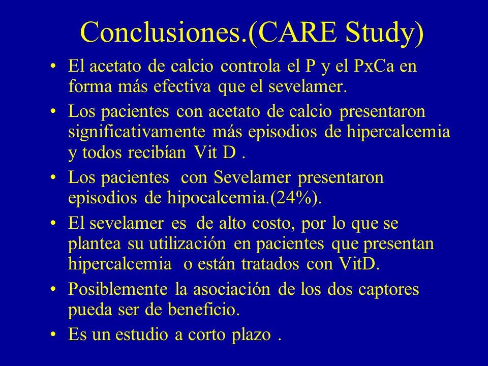 Conclusiones.(CARE Study) El acetato de calcio controla el P y el PxCa en forma más efectiva que el sevelamer. Los pacientes con acetato de calcio pre