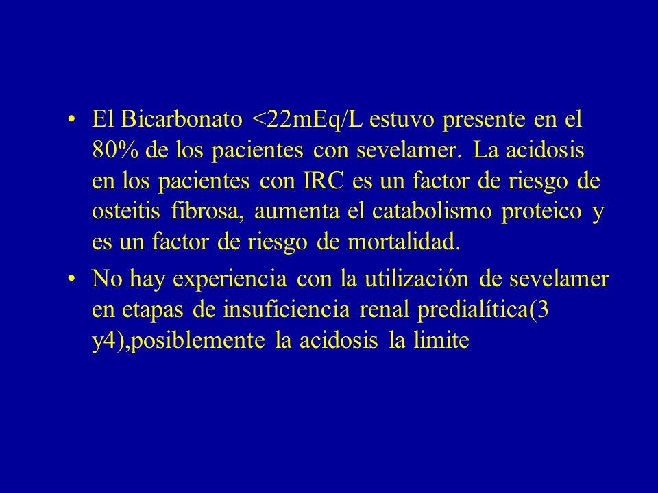 El Bicarbonato <22mEq/L estuvo presente en el 80% de los pacientes con sevelamer. La acidosis en los pacientes con IRC es un factor de riesgo de ostei