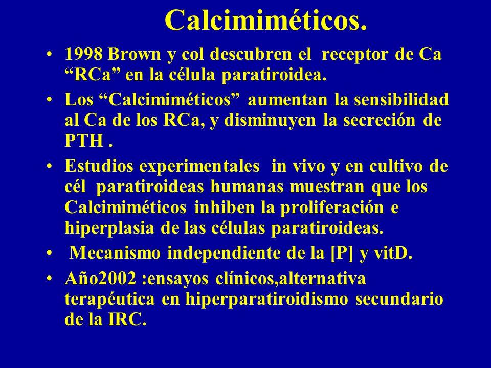 Calcimiméticos. 1998 Brown y col descubren el receptor de Ca RCa en la célula paratiroidea. Los Calcimiméticos aumentan la sensibilidad al Ca de los R