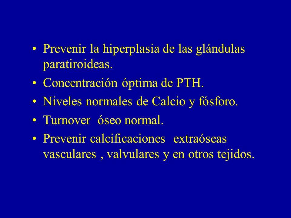 Prevenir la hiperplasia de las glándulas paratiroideas. Concentración óptima de PTH. Niveles normales de Calcio y fósforo. Turnover óseo normal. Preve