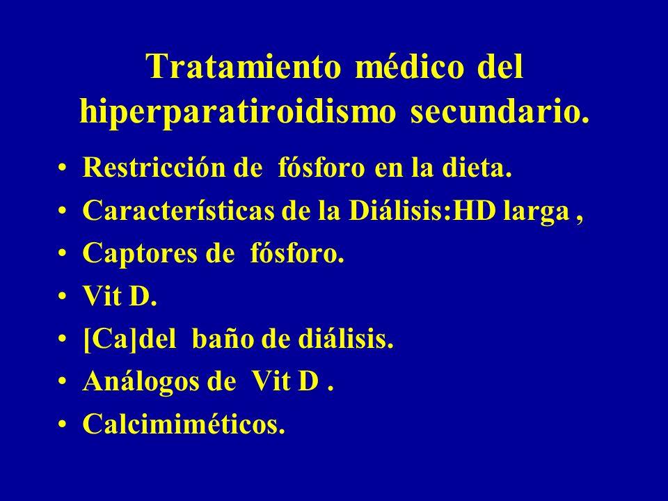 Tratamiento médico del hiperparatiroidismo secundario. Restricción de fósforo en la dieta. Características de la Diálisis:HD larga, Captores de fósfor