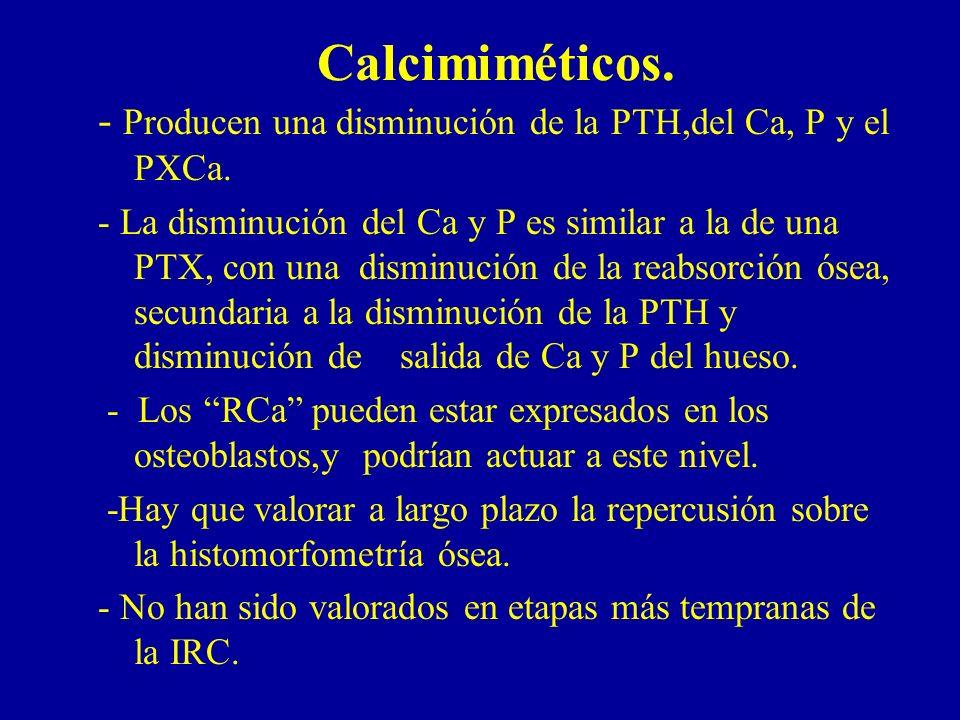 Calcimiméticos. - Producen una disminución de la PTH,del Ca, P y el PXCa. - La disminución del Ca y P es similar a la de una PTX, con una disminución