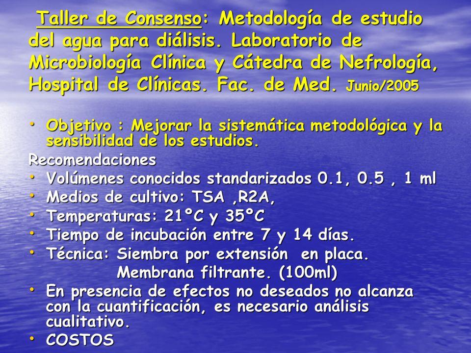 Taller de Consenso: Metodología de estudio del agua para diálisis. Laboratorio de Microbiología Clínica y Cátedra de Nefrología, Hospital de Clínicas.