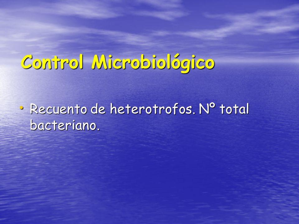 Control Microbiológico Recuento de heterotrofos. Nº total bacteriano. Recuento de heterotrofos. Nº total bacteriano.