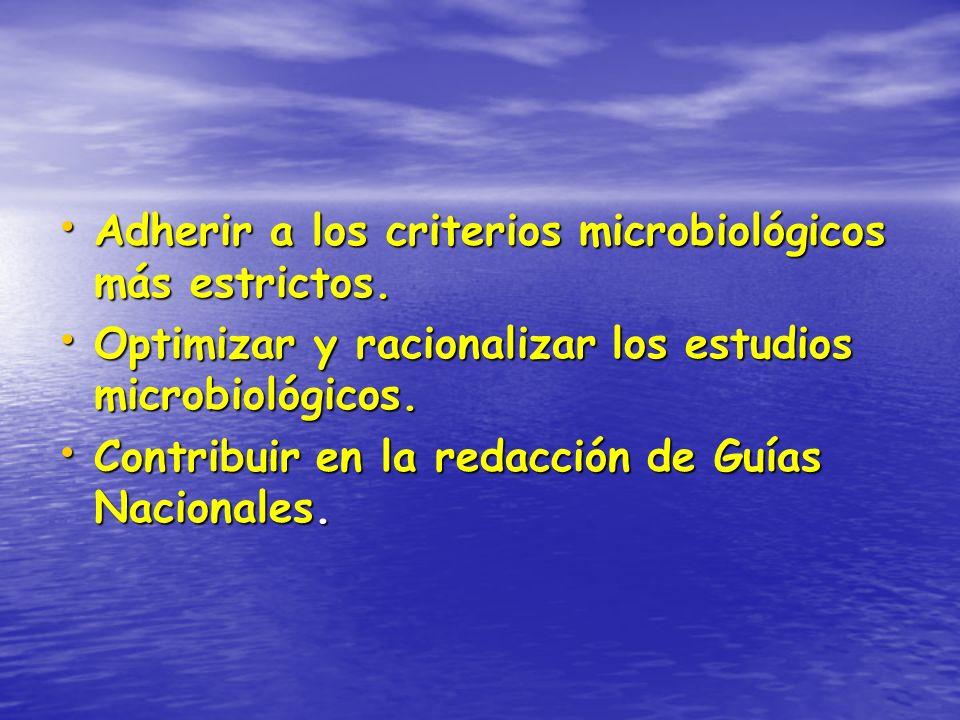 Adherir a los criterios microbiológicos más estrictos. Adherir a los criterios microbiológicos más estrictos. Optimizar y racionalizar los estudios mi