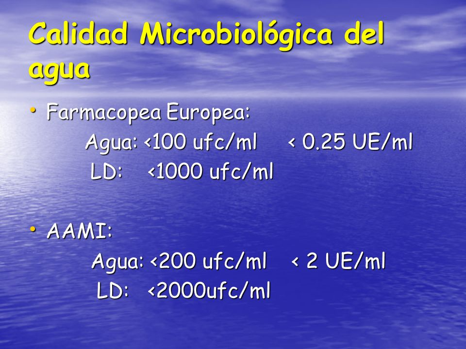 Calidad Microbiológica del agua Farmacopea Europea: Farmacopea Europea: Agua: <100 ufc/ml < 0.25 UE/ml Agua: <100 ufc/ml < 0.25 UE/ml LD: <1000 ufc/ml