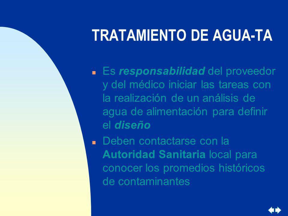 TRATAMIENTO DE AGUA-TA n Es responsabilidad del proveedor y del médico iniciar las tareas con la realización de un análisis de agua de alimentación pa