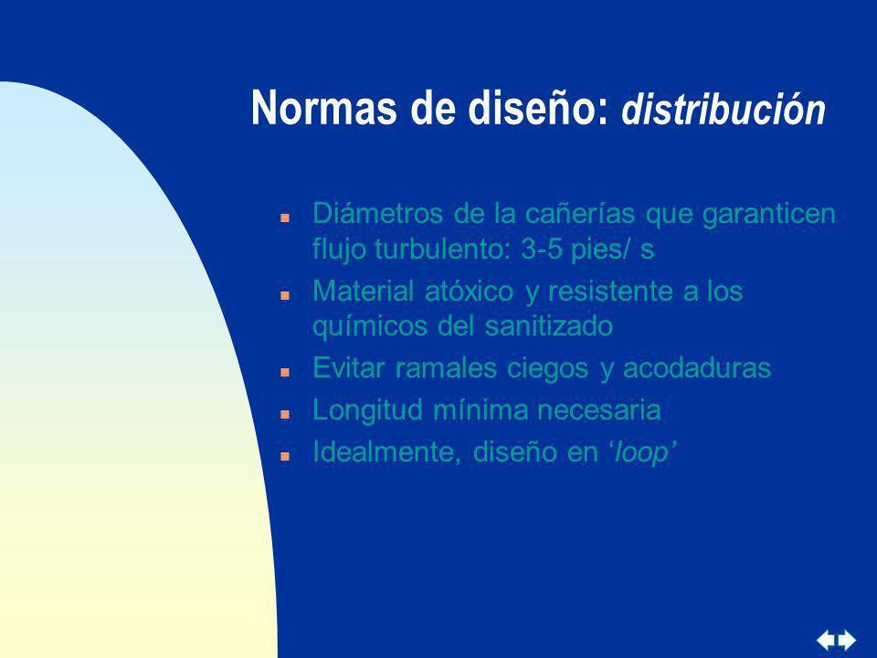 Normas de diseño: distribución n Diámetros de la cañerías que garanticen flujo turbulento: 3-5 pies/ s n Material atóxico y resistente a los químicos