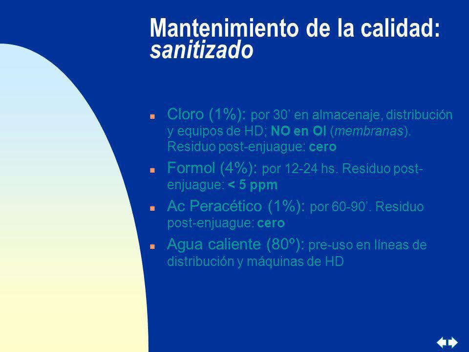 Mantenimiento de la calidad: sanitizado n Cloro (1%): por 30 en almacenaje, distribución y equipos de HD; NO en OI (membranas). Residuo post-enjuague: