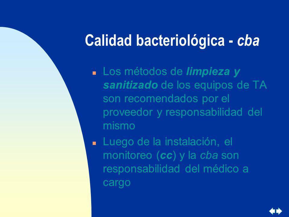 Calidad bacteriológica - cba n Los métodos de limpieza y sanitizado de los equipos de TA son recomendados por el proveedor y responsabilidad del mismo