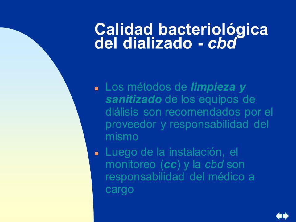 Calidad bacteriológica del dializado - cbd n Los métodos de limpieza y sanitizado de los equipos de diálisis son recomendados por el proveedor y respo