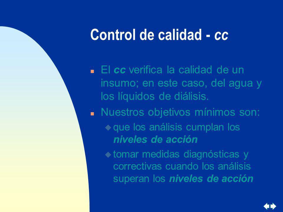 Control de calidad - cc n El cc verifica la calidad de un insumo; en este caso, del agua y los líquidos de diálisis. n Nuestros objetivos mínimos son: