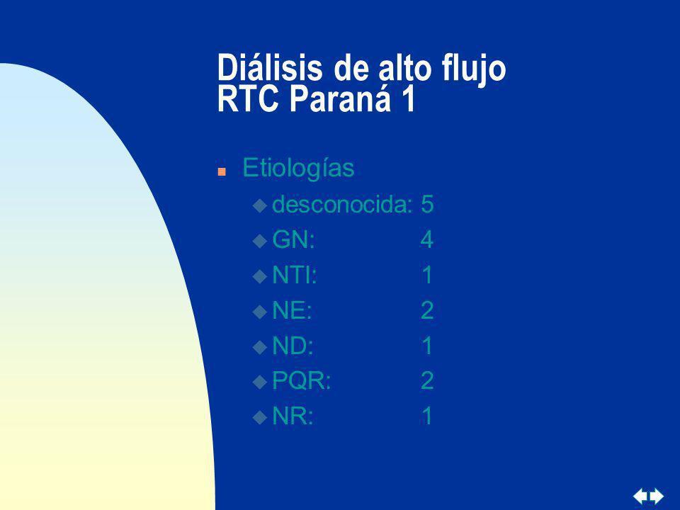 Diálisis de alto flujo RTC Paraná 1 n Etiologías u desconocida:5 u GN:4 u NTI:1 u NE:2 u ND:1 u PQR:2 u NR:1