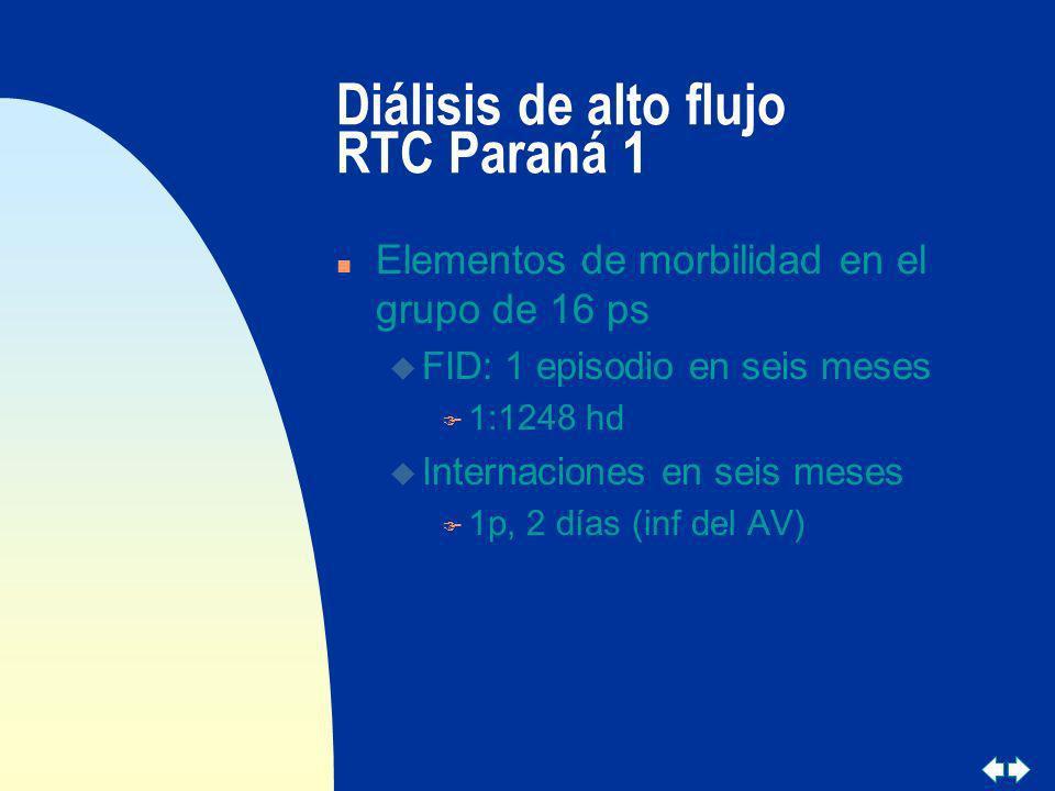 Diálisis de alto flujo RTC Paraná 1 n Elementos de morbilidad en el grupo de 16 ps u FID: 1 episodio en seis meses F 1:1248 hd u Internaciones en seis