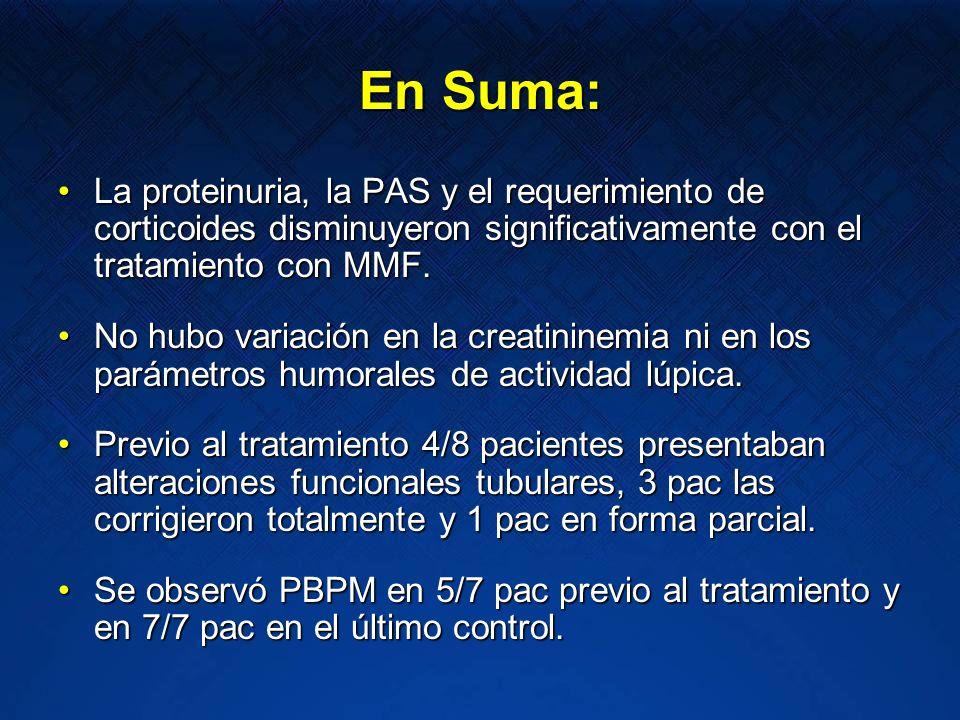 En Suma: La proteinuria, la PAS y el requerimiento de corticoides disminuyeron significativamente con el tratamiento con MMF.La proteinuria, la PAS y