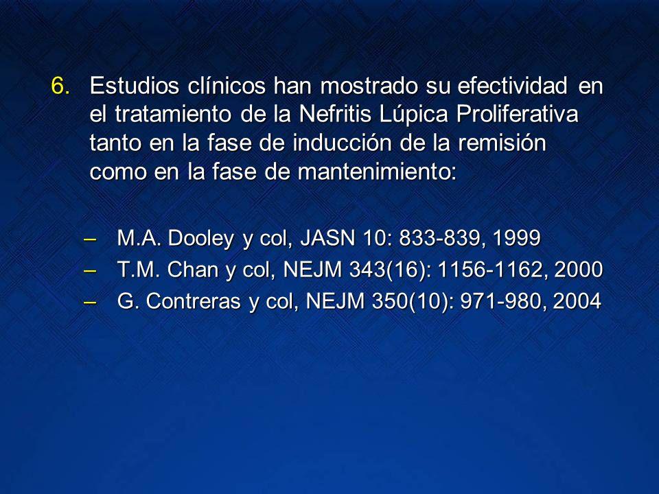 6.Estudios clínicos han mostrado su efectividad en el tratamiento de la Nefritis Lúpica Proliferativa tanto en la fase de inducción de la remisión com