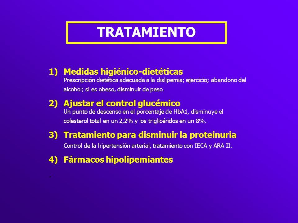 TRATAMIENTO 1)Medidas higiénico-dietéticas Prescripción dietética adecuada a la dislipemia; ejercicio; abandono del alcohol; si es obeso, disminuir de
