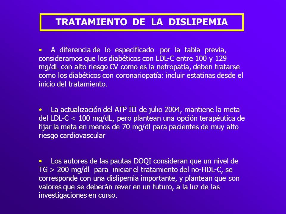 TRATAMIENTO DE LA DISLIPEMIA A diferencia de lo especificado por la tabla previa, consideramos que los diabéticos con LDL-C entre 100 y 129 mg/dL con