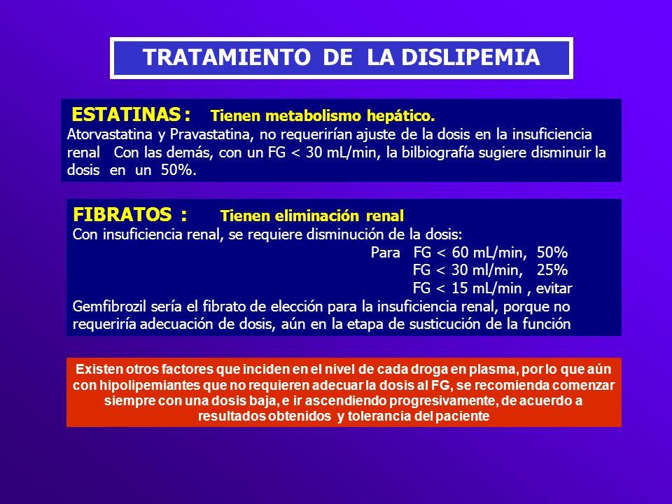 TRATAMIENTO DE LA DISLIPEMIA ESTATINAS : Tienen metabolismo hepático. Atorvastatina y Pravastatina, no requerirían ajuste de la dosis en la insuficien
