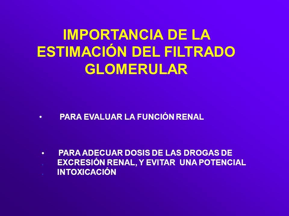 IMPORTANCIA DE LA ESTIMACIÓN DEL FILTRADO GLOMERULAR PARA ADECUAR DOSIS DE LAS DROGAS DE. EXCRESIÓN RENAL, Y EVITAR UNA POTENCIAL. INTOXICACIÓN PARA E