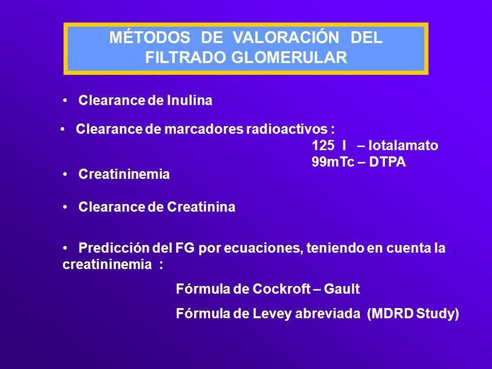 MÉTODOS DE VALORACIÓN DEL FILTRADO GLOMERULAR Clearance de Inulina Clearance de marcadores radioactivos : 125 I – Iotalamato 99mTc – DTPA Creatininemi