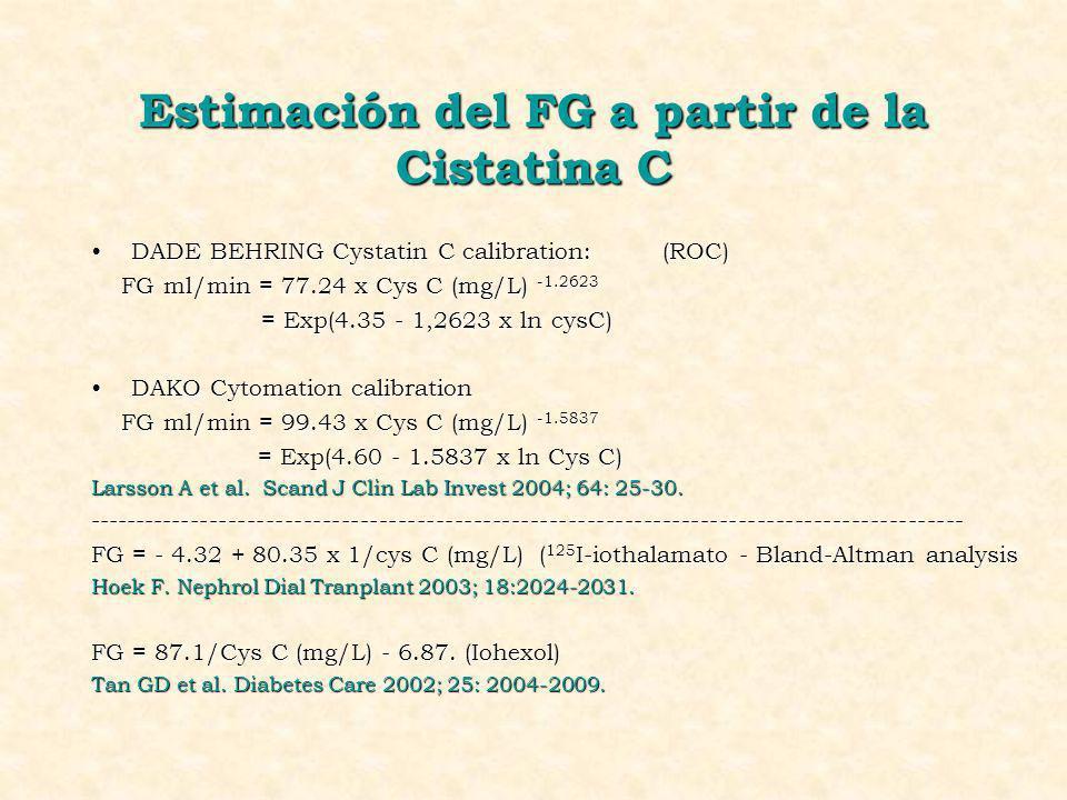 Estimación del FG a partir de la Cistatina C DADE BEHRING Cystatin C calibration: (ROC)DADE BEHRING Cystatin C calibration: (ROC) FG ml/min = 77.24 x