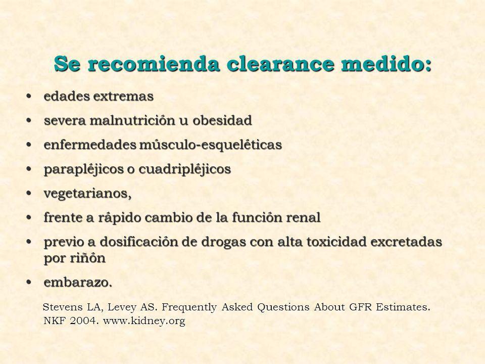 Se recomienda clearance medido: edades extremasedades extremas severa malnutrición u obesidadsevera malnutrición u obesidad enfermedades músculo-esque