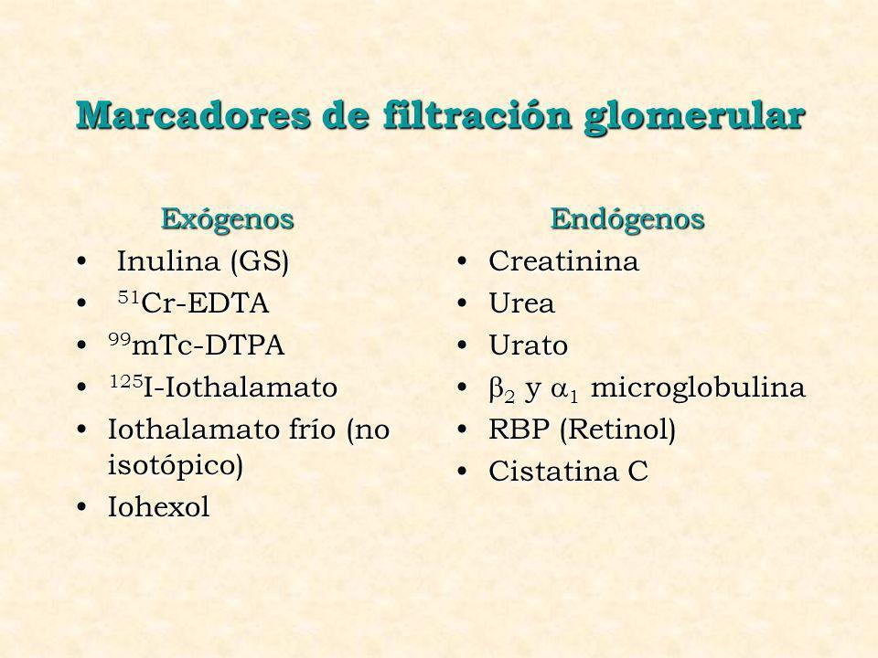 Marcadores de filtración glomerular Exógenos Inulina (GS) Inulina (GS) 51 Cr-EDTA 51 Cr-EDTA 99 mTc-DTPA 99 mTc-DTPA 125 I-Iothalamato 125 I-Iothalama