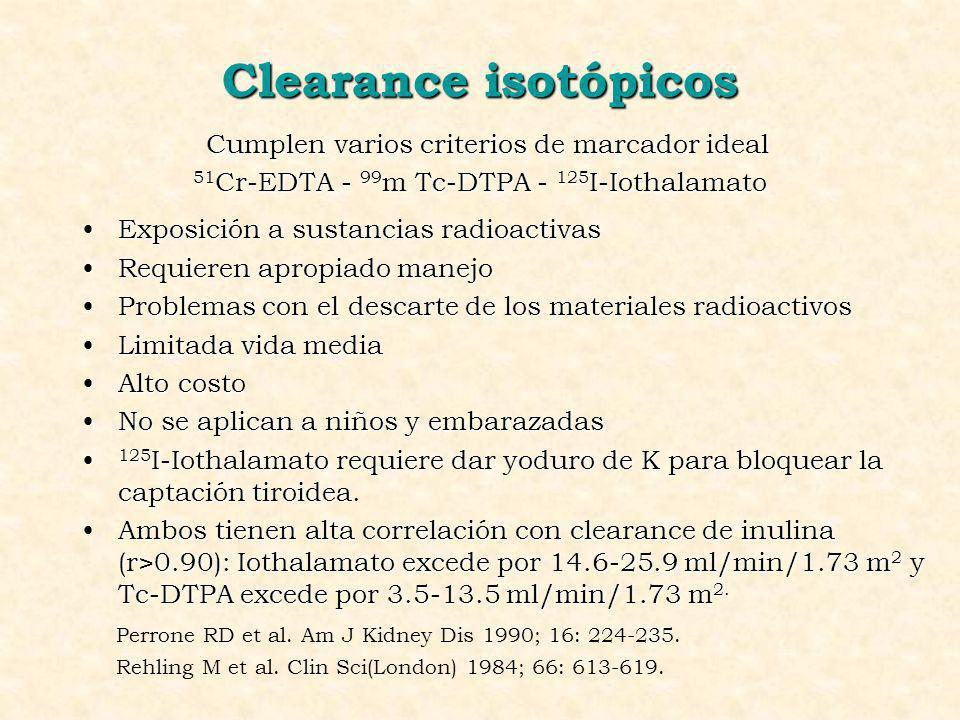 Clearance isotópicos Cumplen varios criterios de marcador ideal 51 Cr-EDTA - 99 m Tc-DTPA - 125 I-Iothalamato Exposición a sustancias radioactivasExpo
