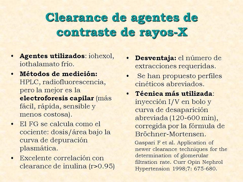 Clearance de agentes de contraste de rayos-X Agentes utilizados : iohexol, iothalamato frío. Agentes utilizados : iohexol, iothalamato frío. Métodos d