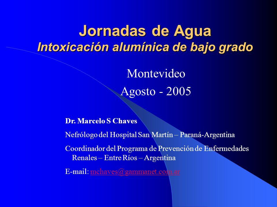 EOAA en Argentina Año (Provincia) Centros n Provincia % [Al A ] ug/l [Al D ] ug/l BO % (+) 1993 (Santa Fe) 2077%8,921,5 1995 (Santa Fe) 2392%9,917,2 1996-1997 (Córdoba) 3075%25,226,778% Alles A y col.