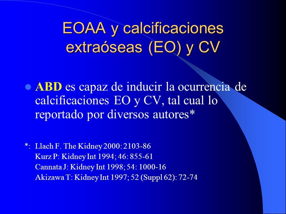 EOAA y calcificaciones extraóseas (EO) y CV ABD es capaz de inducir la ocurrencia de calcificaciones EO y CV, tal cual lo reportado por diversos autor