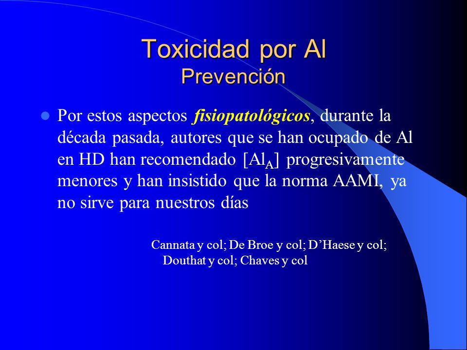 Toxicidad por Al Prevención Por estos aspectos fisiopatológicos, durante la década pasada, autores que se han ocupado de Al en HD han recomendado [Al