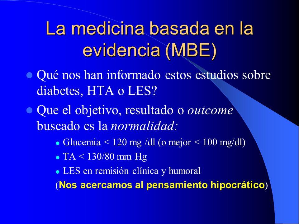 La medicina basada en la evidencia (MBE) Qué nos han informado estos estudios sobre diabetes, HTA o LES? Que el objetivo, resultado o outcome buscado