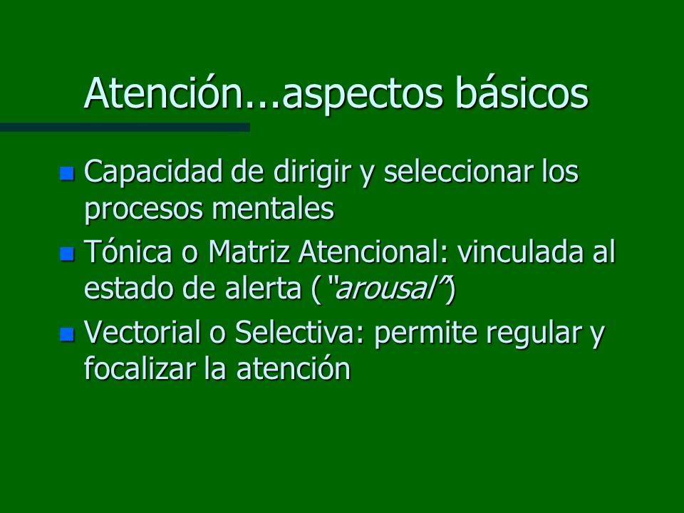 Atención...aspectos básicos n Capacidad de dirigir y seleccionar los procesos mentales n Tónica o Matriz Atencional: vinculada al estado de alerta (ar