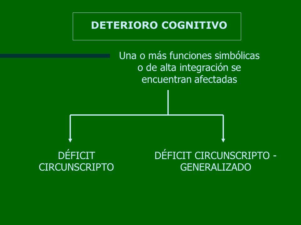 DETERIORO COGNITIVO Una o más funciones simbólicas o de alta integración se encuentran afectadas DÉFICIT CIRCUNSCRIPTO DÉFICIT CIRCUNSCRIPTO - GENERAL