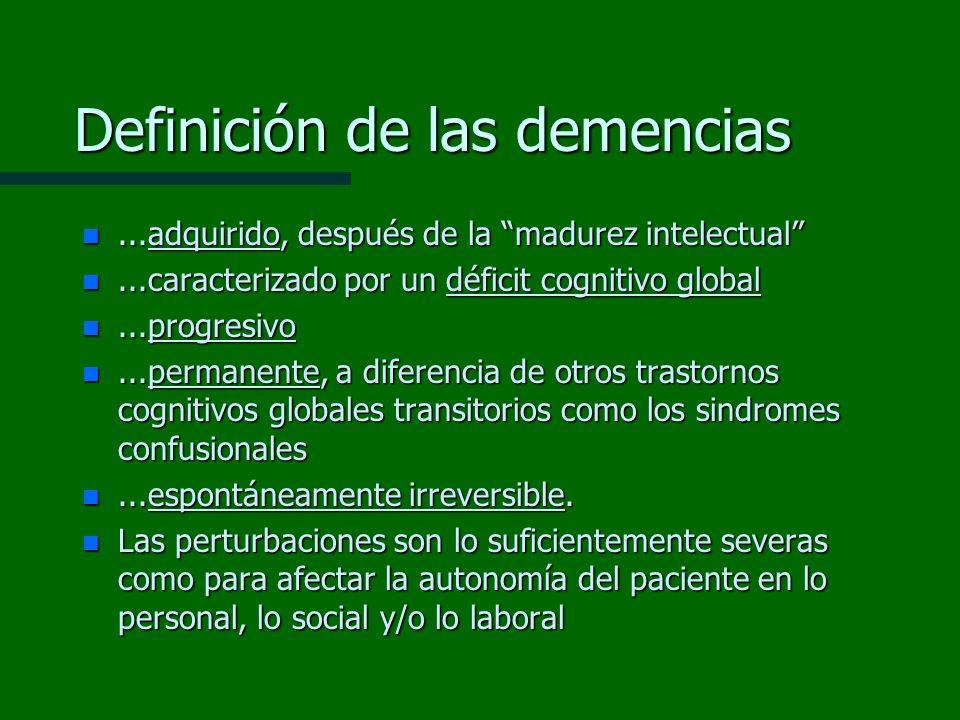 Definición de las demencias n...adquirido, después de la madurez intelectual n...caracterizado por un déficit cognitivo global n...progresivo n...perm