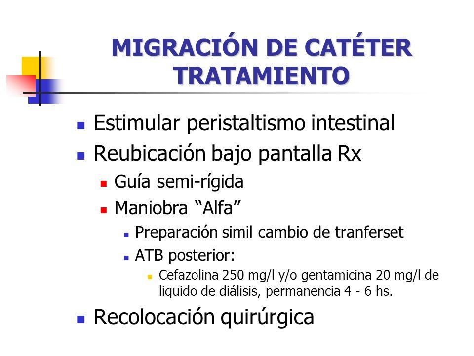 MIGRACIÓN DE CATÉTER TRATAMIENTO Estimular peristaltismo intestinal Reubicación bajo pantalla Rx Guía semi-rígida Maniobra Alfa Preparación simil cambio de tranferset ATB posterior: Cefazolina 250 mg/l y/o gentamicina 20 mg/l de liquido de diálisis, permanencia 4 - 6 hs.