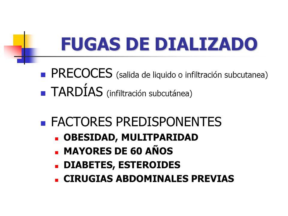FUGAS DE DIALIZADO PRECOCES (salida de liquido o infiltración subcutanea) TARDÍAS (infiltración subcutánea) FACTORES PREDISPONENTES OBESIDAD, MULITPARIDAD MAYORES DE 60 AÑOS DIABETES, ESTEROIDES CIRUGIAS ABDOMINALES PREVIAS