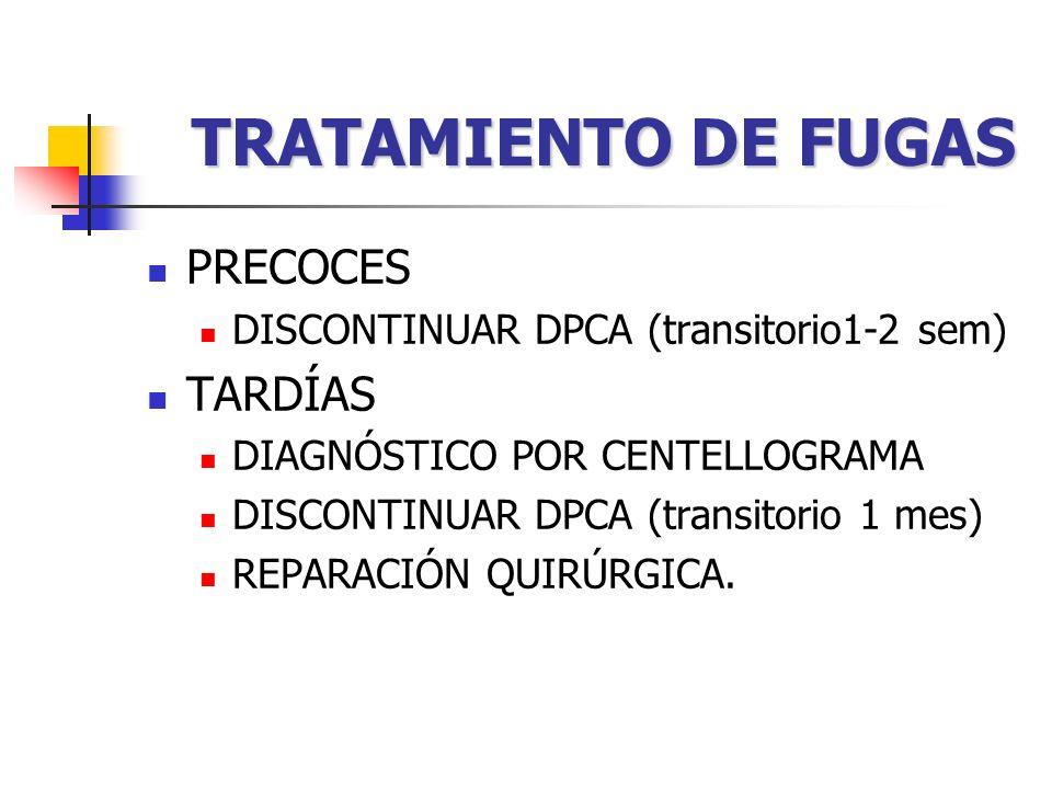 TRATAMIENTO DE FUGAS PRECOCES DISCONTINUAR DPCA (transitorio1-2 sem) TARDÍAS DIAGNÓSTICO POR CENTELLOGRAMA DISCONTINUAR DPCA (transitorio 1 mes) REPARACIÓN QUIRÚRGICA.
