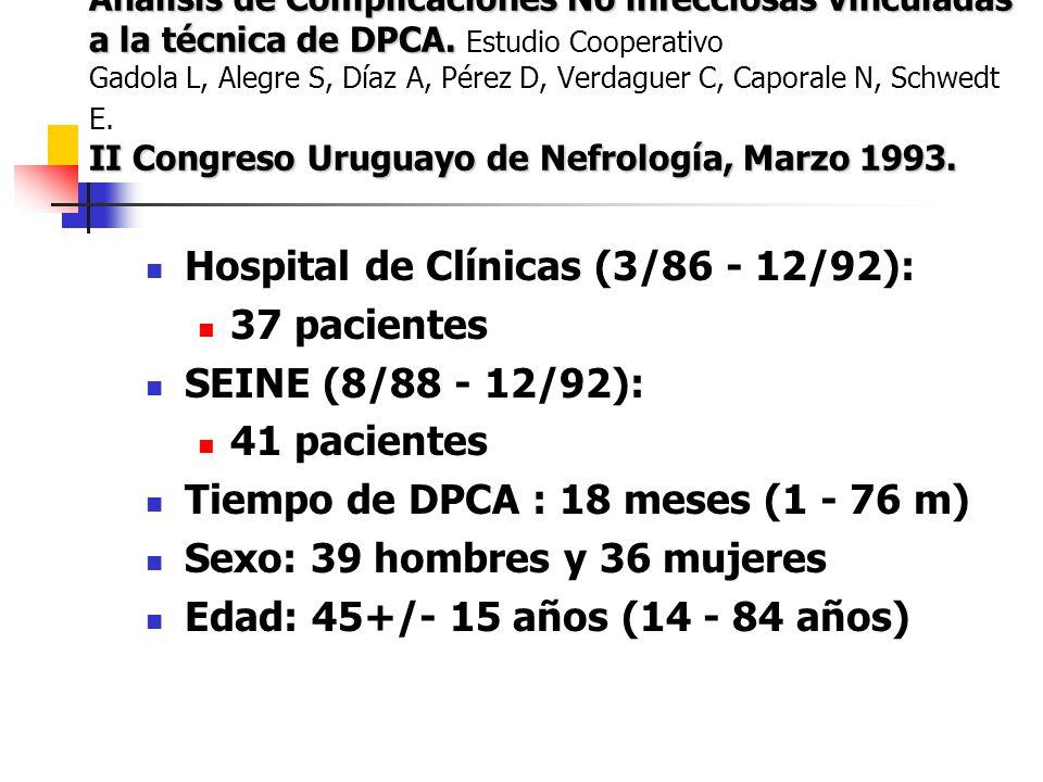 Análisis de Complicaciones No infecciosas vinculadas a la técnica de DPCA.
