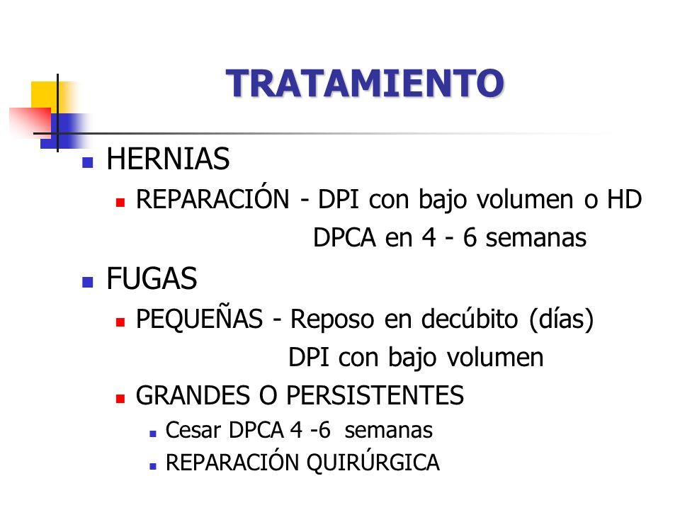 TRATAMIENTO HERNIAS REPARACIÓN - DPI con bajo volumen o HD DPCA en 4 - 6 semanas FUGAS PEQUEÑAS - Reposo en decúbito (días) DPI con bajo volumen GRANDES O PERSISTENTES Cesar DPCA 4 -6 semanas REPARACIÓN QUIRÚRGICA