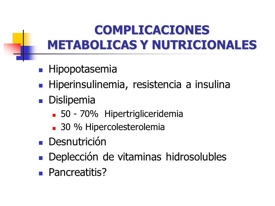 COMPLICACIONES METABOLICAS Y NUTRICIONALES Hipopotasemia Hiperinsulinemia, resistencia a insulina Dislipemia 50 - 70% Hipertrigliceridemia 30 % Hipercolesterolemia Desnutrición Deplección de vitaminas hidrosolubles Pancreatitis?