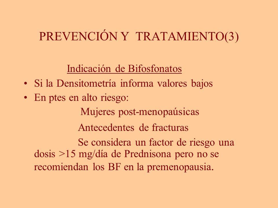 PREVENCIÓN Y TRATAMIENTO(3) Indicación de Bifosfonatos Si la Densitometría informa valores bajos En ptes en alto riesgo: Mujeres post-menopaúsicas Ant