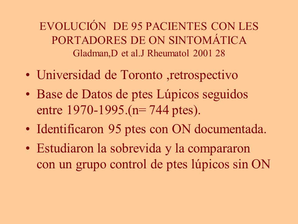 EVOLUCIÓN DE 95 PACIENTES CON LES PORTADORES DE ON SINTOMÁTICA Gladman,D et al.J Rheumatol 2001 28 Universidad de Toronto,retrospectivo Base de Datos