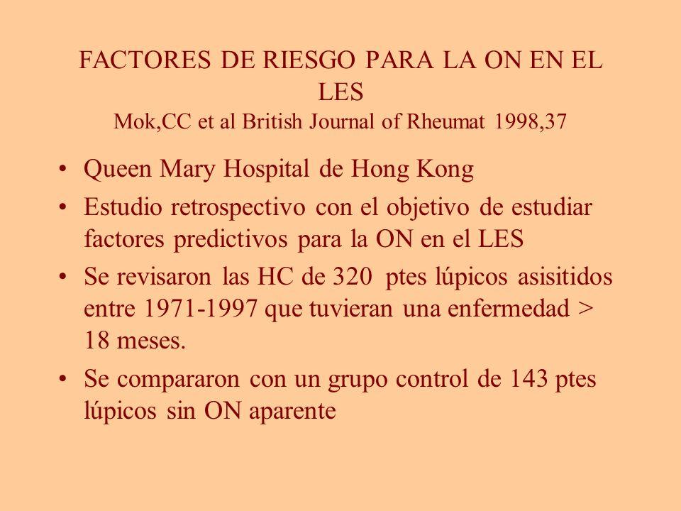 FACTORES DE RIESGO PARA LA ON EN EL LES Mok,CC et al British Journal of Rheumat 1998,37 Queen Mary Hospital de Hong Kong Estudio retrospectivo con el
