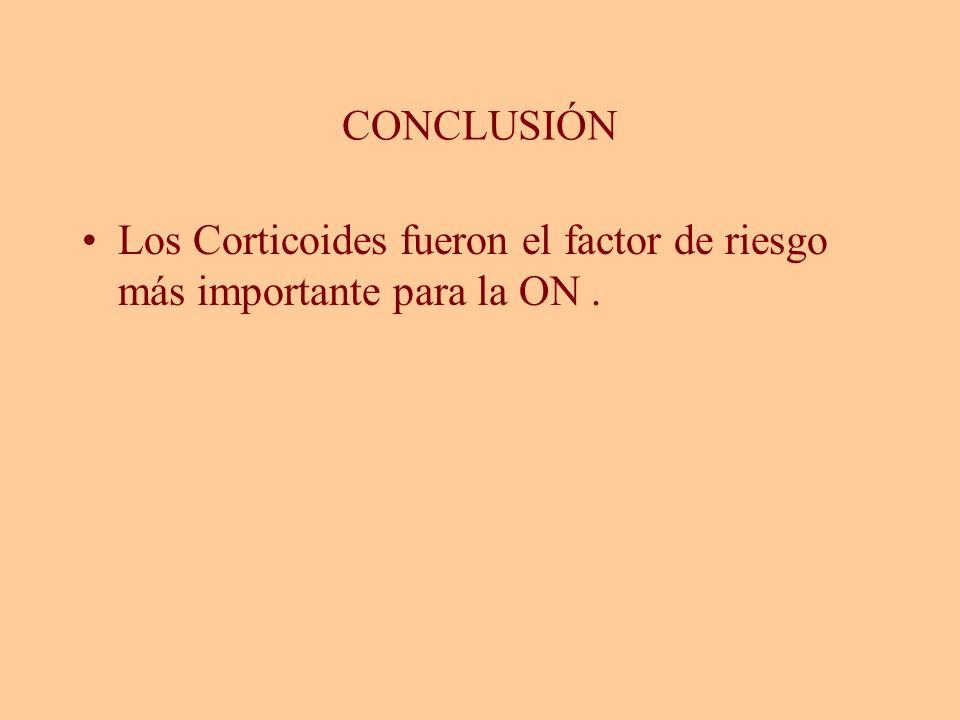 CONCLUSIÓN Los Corticoides fueron el factor de riesgo más importante para la ON.
