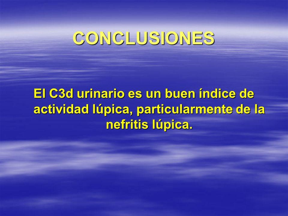 CONCLUSIONES El C3d urinario es un buen índice de actividad lúpica, particularmente de la nefritis lúpica.
